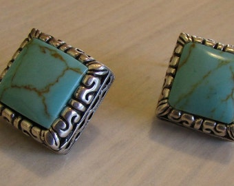 Sterling Silver and Faux Turquoise Diamond Shape Post Earrings