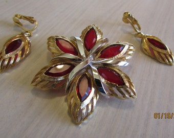Vintage Costume Gold Tone and Red  Brooch and Clip Earrings Set