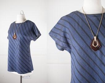 1980s Striped Secretary Blouse / Blue and Black Striped Shirt / Minimalist Shirt / Vintage 80s Blouse / 80s Oversized Shirt / Boxy Blouse