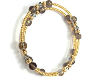 Minimalist Bracelet with Swarovski Crystals and Natural Gemstones/ Smoky Quartz Gemstone Bangle/ Memory Wire Bangle/ Beaded Bangle  Bracelet