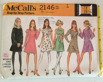 """McCall's 2146 1960s Sewing Pattern / Shift Dress / Size 9, Bust 32"""""""