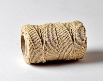 5 Meters Of Hemptique Bakers Twine In Gold Sparkle 2ply Twine Crafting Supplies Decorations Gift Wrapping