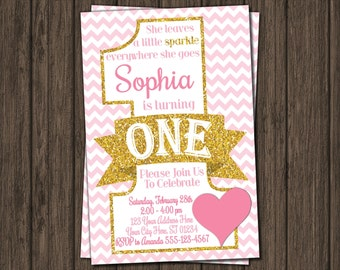 Valentine Birthday Invitation - Valentines First Birthday Invitations - Pink and Gold 1st Birthday Invitation