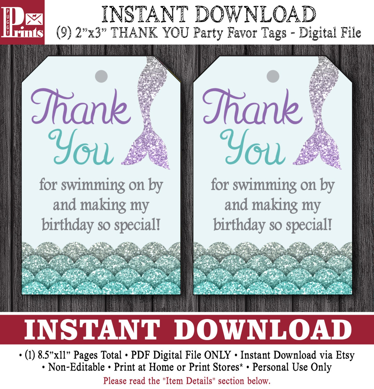 mermaid birthday favor tags mermaid thank youpuggyprints