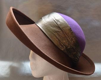 SALE Vintage Wide-Brim Ladies' Hat - Brown and Purple, Gragg's of Wichita