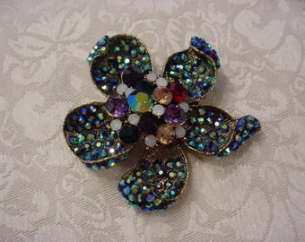 Aurora Borealis Blue Rhinestone Flower Pin Brooch  ~ Gorgeous