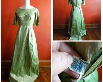 1960s Dress, 60s Satin Gown, Womens Vintage Clothing, Sage Green Dress, 1960s Dress with Train, Hostess Dress, Womens Vintage Clothing
