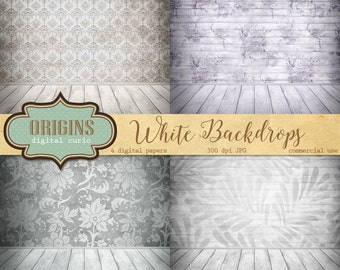 White Digital Backdrop digital photo backgrounds, digital scrapbook paper wedding distressed wood texture digital photography backdrop