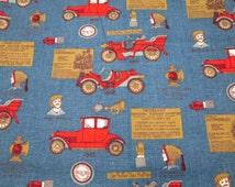1950s figural cotton fabric curtain panels antique car horseless carriage advertising print blue red gold