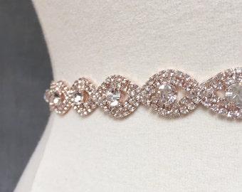 Thin Rose Gold Crystal Rhinestone Belt -  Rose gold Bridal Belt - Bridesmaids Belt - rose gold Bridal Sash - Crystal Belt -  EYM B036