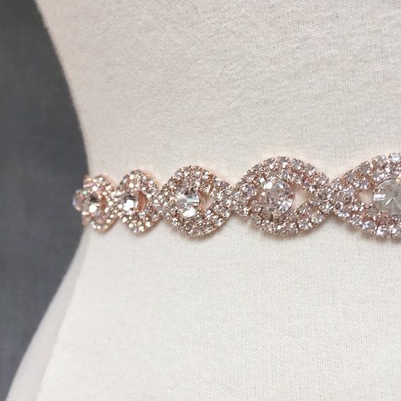 Thin Rose Gold Crystal Rhinestone Belt Rose Gold Bridal