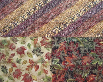 3 Fall Fabrics - Bundle of 3 Half Yard Cuts - Corn & Leaves - Quilters Cotton