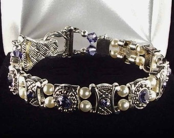 Tanzenite Crystal Bracelet with Swarovski Crystals and Magnetic Clasp