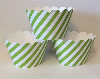 Grass Green White Stripe Cupcake Wrappers, Party decorations, cupcake holders, party supplies, cupcake wraps, cupcake sleeves, paper goods