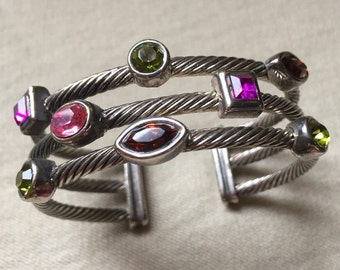 Wire and Stone Cuff Bracelet - 527