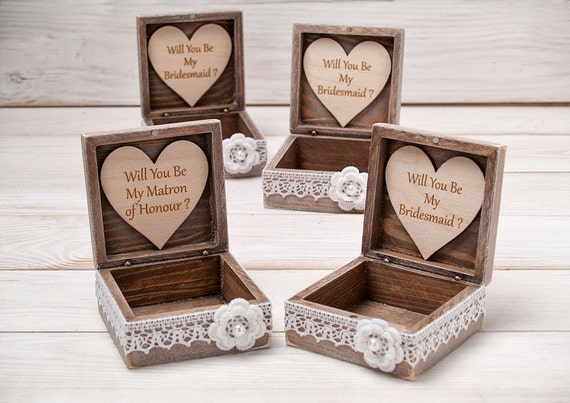 Will You Be My Bridesmaid Box Bridesmaid Proposal Box Maid of Honor Gift Box Sister of the Bride Gift Bridesmaids Gift Wooden Jewelry box
