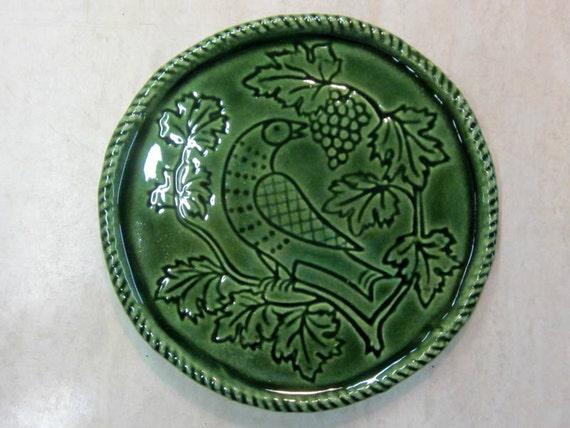 Ceramic Wine Bottle Coaster -- Folk Art Bird incised coaster in Lustre Green glaze, wine accessories