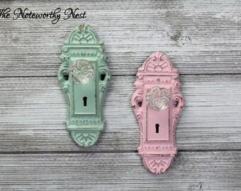 Key style hook // Skeleton Key Wall Hook //  pink decor // Cottage Decor // entry hook // mint decor // glass knob hook // doorknob hook