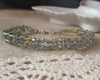 """beaded bracelet, right angle weaving bracelet, swarovski hand beaded bracelet, 8"""" beaded bracelet"""