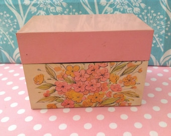Vintage metal recipe box from the 1970's, retro kitchen, pink and orange, flower power