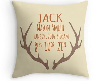 Antler Birth Announcement Pillow - Personalized Baby Pillow - Baby Gift - Boy Nursery Decor