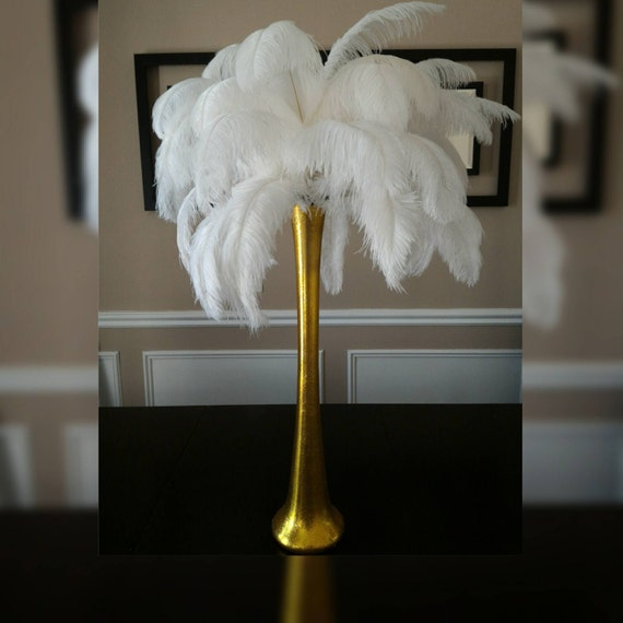 Gold ostrich feather centerpiece kits with