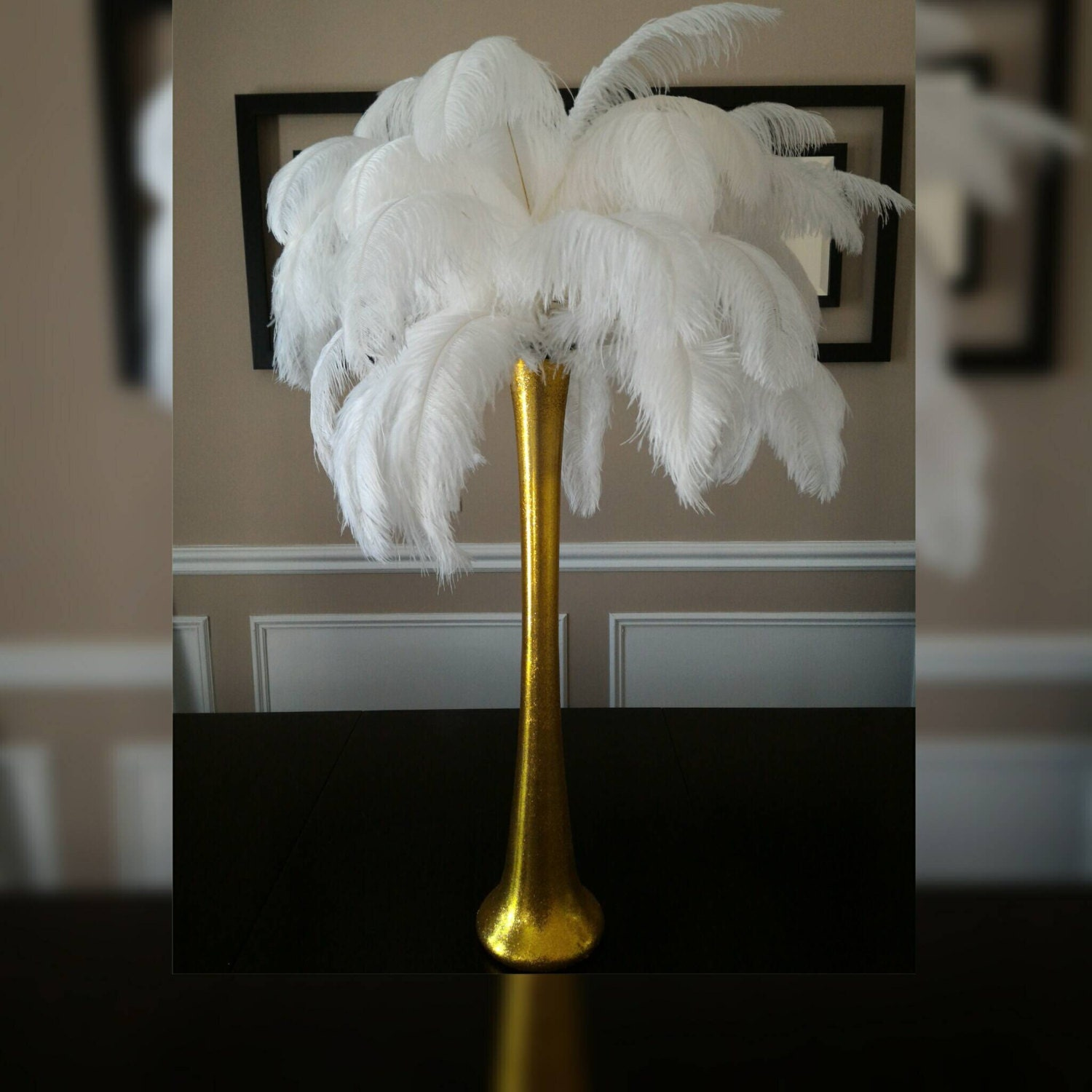 Feather Centerpiece Vases : Gold ostrich feather centerpiece kits with