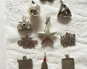 Sale Ends July 5 11pm Group Lot of Sterling Silver Pendants / Charms     Star Camera New Orleans Mardi Gras Basketball America's Cup Constit