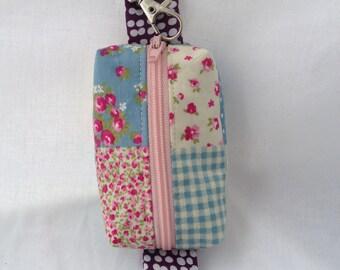 Coin purse key ring, fabric keychain pouch, mini zipper pouch key ring, ear bud case, lip balm pouch, sunblock purse