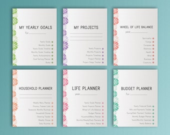 Life Planner Letter Size Printable Big Happy Planner Inserts Home Management Daily Weekly Monthly Project Budget