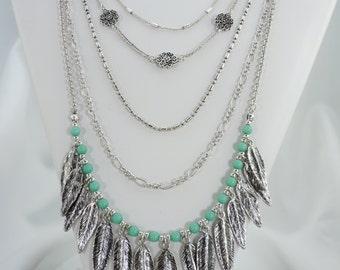 Southwestern Feather Necklace, Layered Necklace, Boho Necklace, Faux Turquoise, Long Necklace