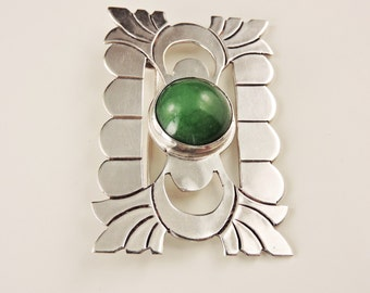 Sterling Silver And Malachite Brooch