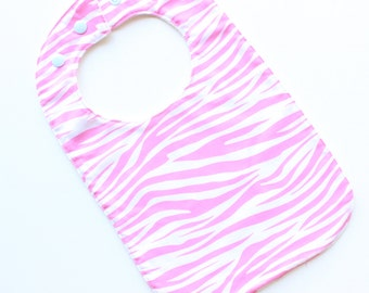 Original baby bib - pink zebra stripes