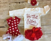 Babies First Christmas, 1st Christmas, Newborn Girls Christmas Outfit, Baby Girl Christmas Outfit, Infant Girl Christmas Onesie,