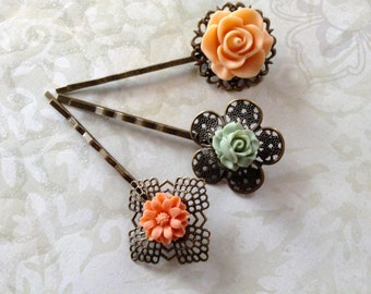 Hair Clips Apricot And Sage Flora Bobby Pins