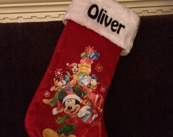 """Mickey Mouse & Friends 18"""" Velvateen Christmas Stocking Plush Cuff - Personalized"""
