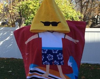 SURFER DUDE Surfer Boy Cotton Beach Poncho Towel Personalized