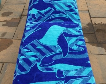 LARGE DOLPHIN Turkish Cotton Beach Towel - Personalized Beach Towel