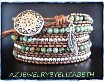Hand Crafted Southwestern Leather Wrap Bracelet With African Turquoise, Beaded Wrap Bracelet.