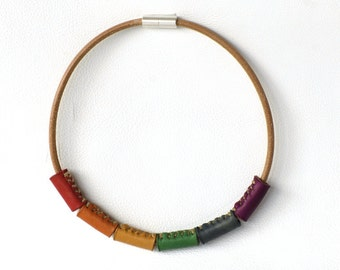 Rainbow Leather Collar. Leather jewelry. Gift for LGBT. Gay Pride. Handmade. Rainbow lovers.