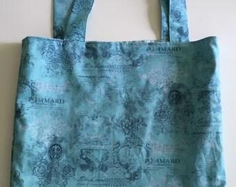 Blue Vintage Print Tote Bag