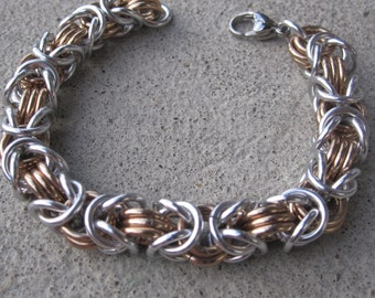 Byzantine Chain Mail Bracelet in Champagne and Silver, Anodized Aluminum multi colored Chainmaille Bracelet