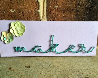 Maker inspired Purple String Art Wood Sign Wall Art Home Decor with Paper Flowers