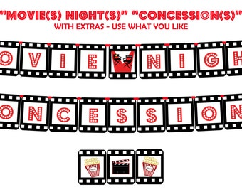 "MOVIE NIGHT and CONCESSION - Printable Party Banner and Decoration - Add style to your next family or fundraiser ""Movie Night"" - Instantly!"