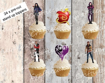 24 x Pre Cut Edible Descendants Stand Up Cupcake Toppers
