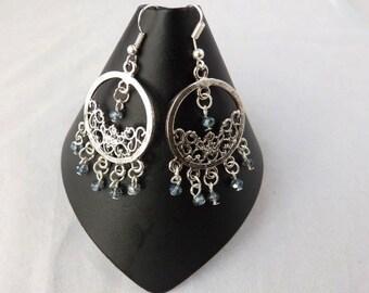 Indian Earrings, Bridal Earrings, Wedding Earring, Silver Chandelier Earrings, Drop Earrings, Ethnic Earring, Earring Gift, Gift for Her