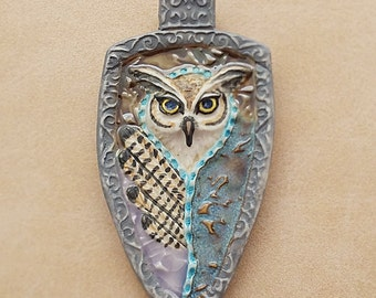 Owl Shaman Totem Feathers Porcelain Pendant In Gray Ceramic Owl Pendant Cabochon Great Horned Owl By Loco Lobo Designs