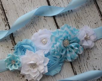 Flower Sash, light blue , white   Sash #2 , flower Belt, maternity sash