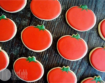 12 Tomato Sugar Cookies, Tomatos, Vegetables, Red, Yellow, Green, Veggies, Food, Garden, Spring, Summer, Fall, Harvest, Salad, Farm, Cookies
