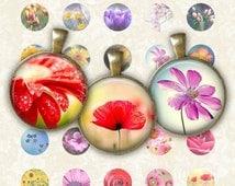 SALE 70% Spring Flower Circle - Digital Collage Sheet 1 inch Printable Circles Download for pendants magnets bottle caps